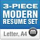 3-Piece Modern Resume Set - GraphicRiver Item for Sale