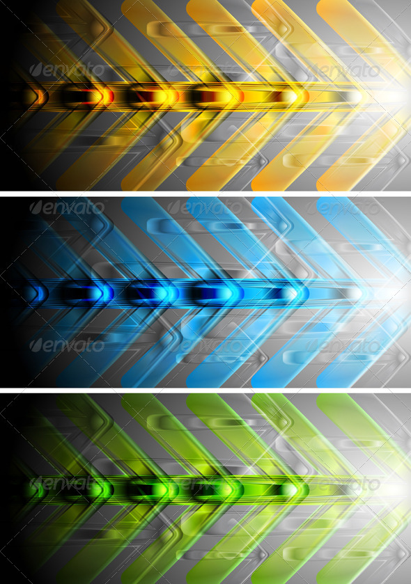 Colourful banners with abstract arrows - Backgrounds Decorative