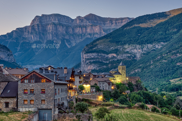 The beautiful village of Torla in the spanisch Pyrenees - Stock Photo - Images
