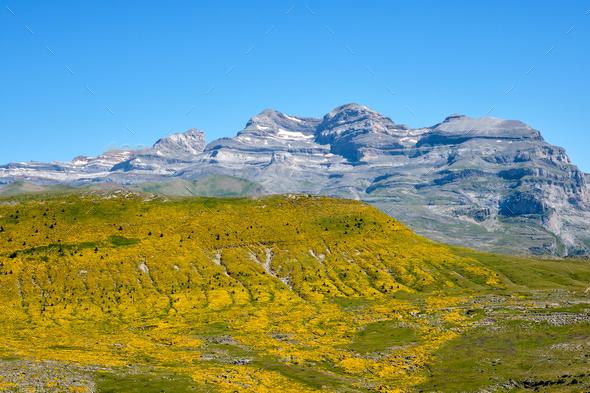View from Pico Mondoto to the Monte Perdido range - Stock Photo - Images