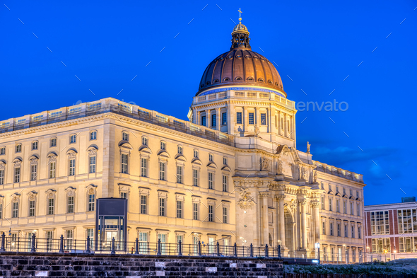 The imposing reconstructed City Palace in Berlin - Stock Photo - Images