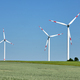 Wind turbines in a grainfield with flying birds - PhotoDune Item for Sale
