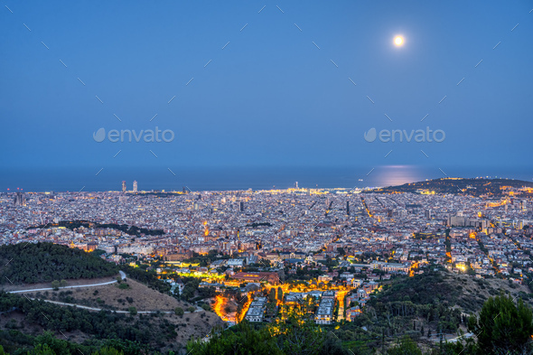 Night view of Barcelona from the Collserola mountain range - Stock Photo - Images