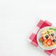 Stack of Belgian waffles, blueberry, strawberry cuts, mint leaf, sugar powder - PhotoDune Item for Sale