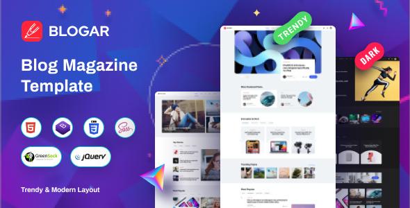 Extraordinary Blogar - Blog Magazine Template