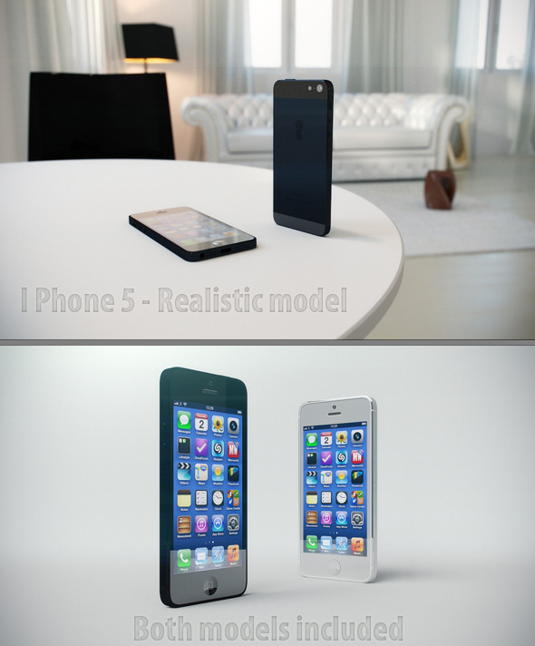 iPhone 5 - Realistic model - 3DOcean Item for Sale