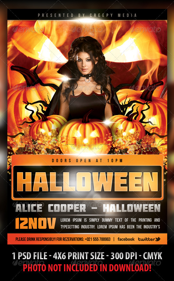 Halloween flyer by fadeink graphicriver for Free halloween flyer templates
