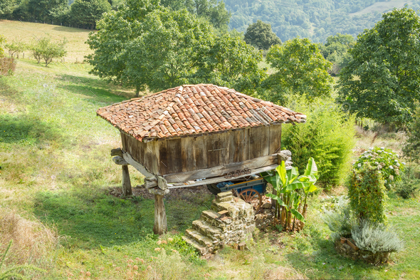 """Granary of Asturias raised by pillars and known as """"horreo"""" - Stock Photo - Images"""