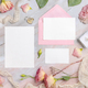 Wedding Wedding stationery set with envelope laying on a marble table - PhotoDune Item for Sale