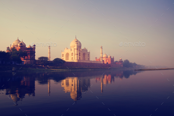 The Taj Mahal in Agra India - Stock Photo - Images
