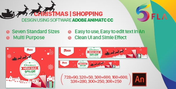 Christmas Shopping HTML 5 Banner Ad- Animate CC