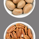 Pecan nuts, shelled and unshelled, in white bowls, on gray background - PhotoDune Item for Sale
