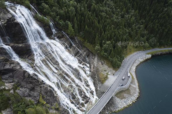 Norway Vestland Furebergfossen Waterfall Aerial View - Stock Photo - Images