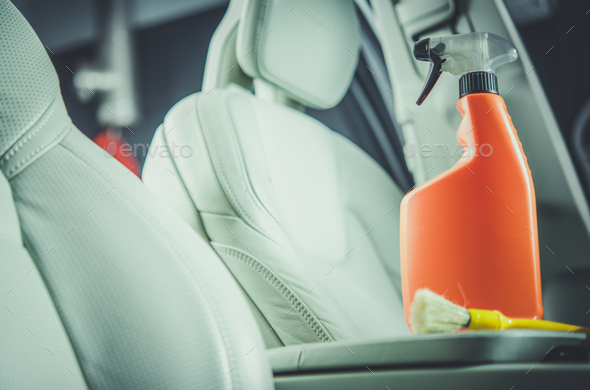 Car Interior Leather Cleaning Detergent - Stock Photo - Images