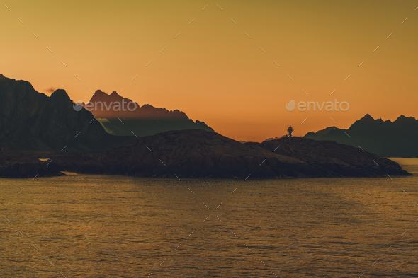 Norwegian Nordland County Lofoten Region Midnight Sunrise in the Lighthouse Bay - Stock Photo - Images