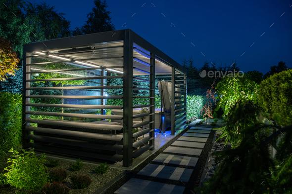 Modern Backyard SPA Shelter Bower - Stock Photo - Images