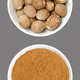 Whole nutmegs and nutmeg powder, in white bowls, on gray background - PhotoDune Item for Sale