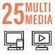 25 Online Multimedia Line Icon