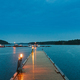 Sweden. Beautiful Wooden Pier Near Lake In Summer Evening Night. Lake Or River Landscape - PhotoDune Item for Sale