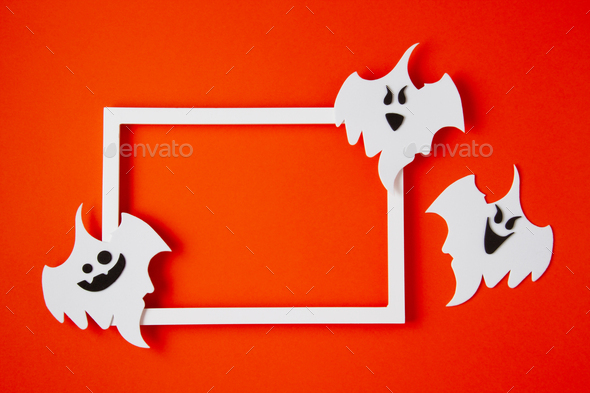 Top view of Halloween decoration with plastic bats. Party, invitation, halloween decoration - Stock Photo - Images