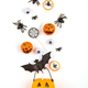 Halloween pumpkin with Halloween party objects, bats, spiders and treats - PhotoDune Item for Sale