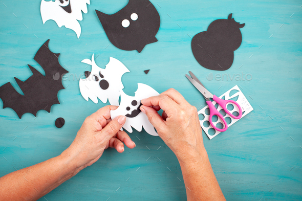 Flat lay of DIY accessories for halloween decoration. Happy Halloween festival background - Stock Photo - Images