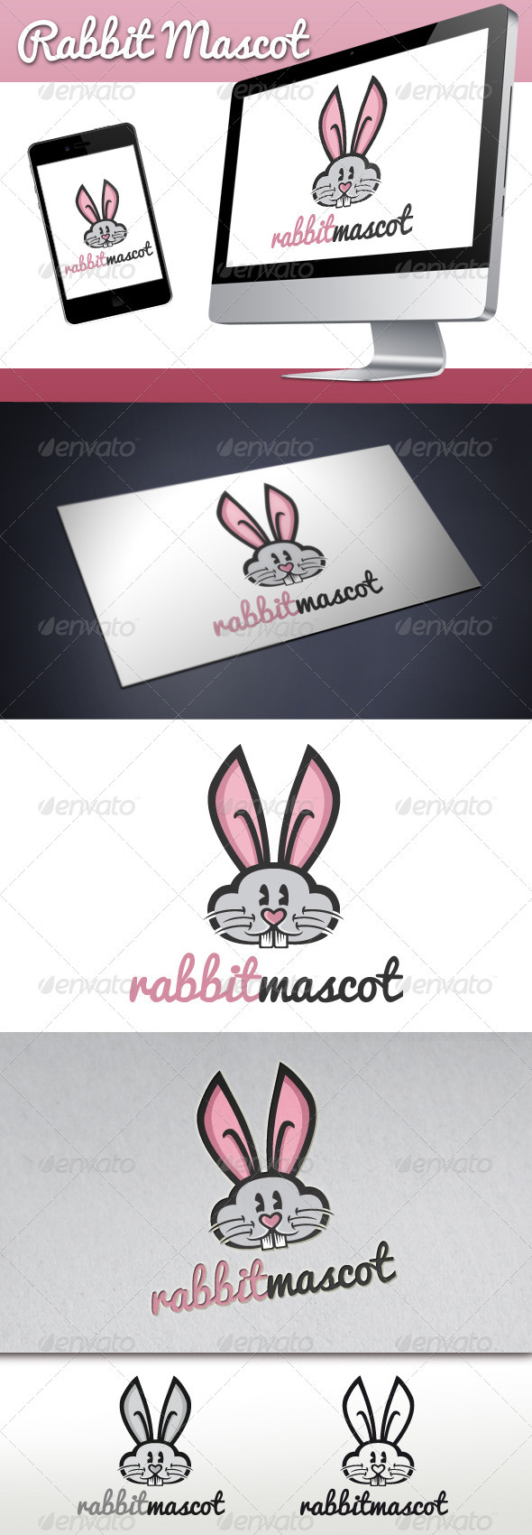 Rabbit Mascot Logo - Animals Logo Templates