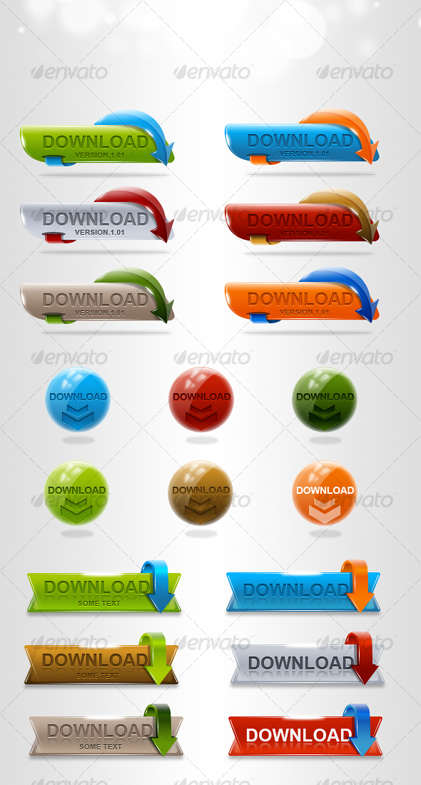 HQ Download Buttons - Buttons Web Elements