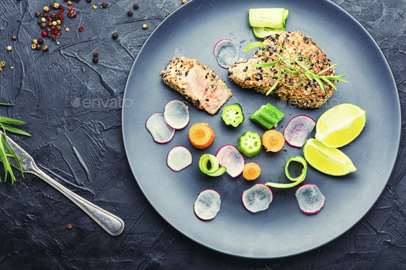 Delicious tuna and vegetable salad - Stock Photo - Images