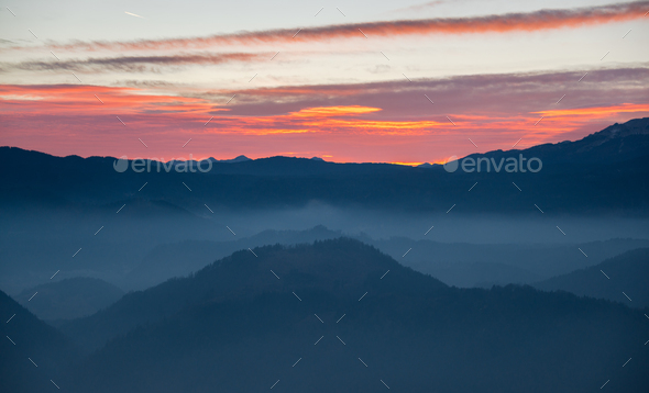 sunset in the mountains - Stock Photo - Images