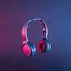 Headphones or headset in neon light to listen to trending or other contemporary disco music - PhotoDune Item for Sale