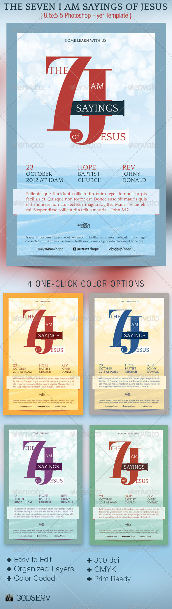 Seven Sayings Flyer Template - Church Flyers