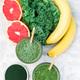 Healthy vegan green smoothie with kale, chlorella, banana and grapefruit detox drink - PhotoDune Item for Sale