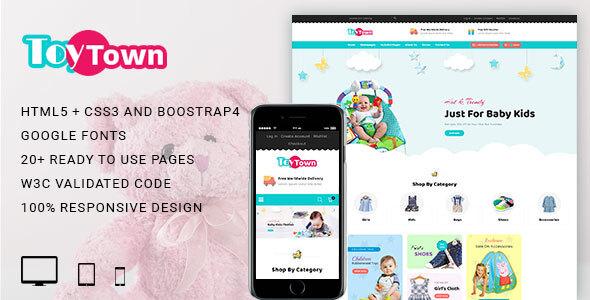 Wonderful Toytown Kids Clothing & Toys Responsive HTML Template