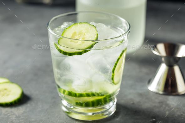 Refreshing Boozy Cucumber Shochu Cocktail - Stock Photo - Images
