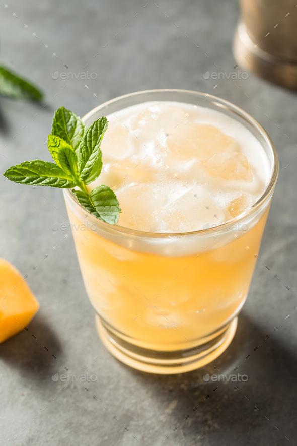 Boozy Refreshing Shochu Cantaloupe Cocktail - Stock Photo - Images