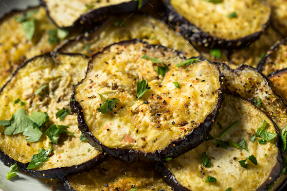 Healthy Organic Roasted Eggplant - Stock Photo - Images