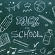 Blackboard written with chalk with message, school supplies and coronavirus protections - PhotoDune Item for Sale