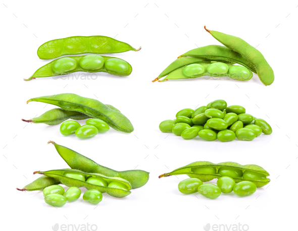 green soy beans isolated on white - Stock Photo - Images