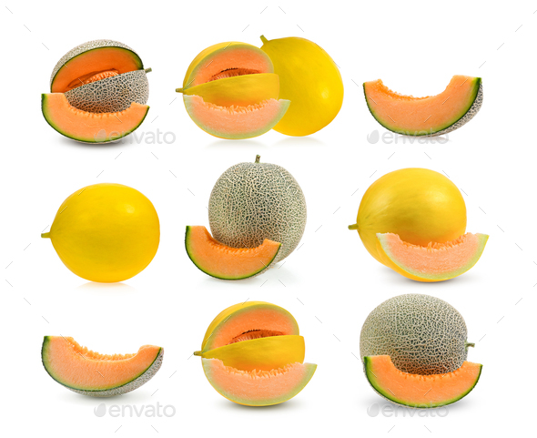 set of melon or cantaloupe with seeds isolated on white - Stock Photo - Images