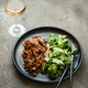 Spicy healthy no meat stir fry with green salad, top view, copy space - PhotoDune Item for Sale