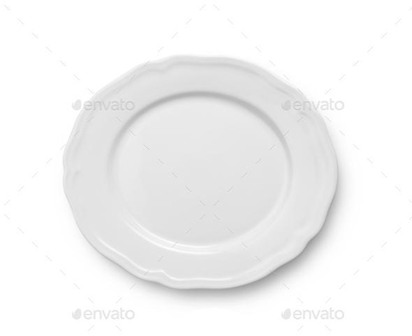 white ceramic plate on white background - Stock Photo - Images