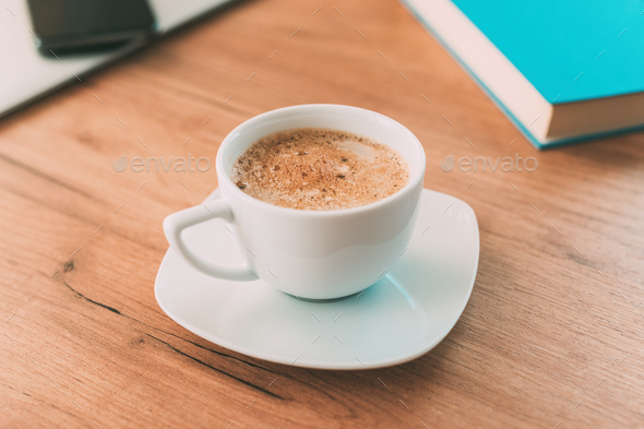 Morning coffee before starting the freelance job - Stock Photo - Images
