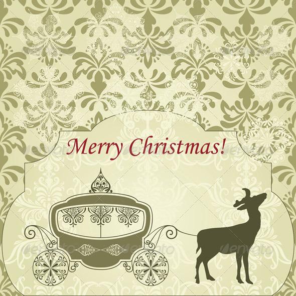 Vector Christmas  Greeting Card with Deer and Vint - Christmas Seasons/Holidays