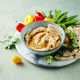 Classic hummus, slices of pita bread and rainbow vegetables - PhotoDune Item for Sale