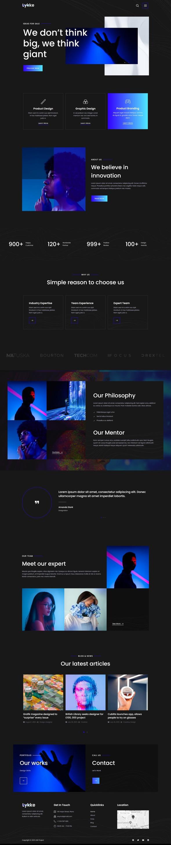 Lykke - Creative Agency Elementor Template Kit