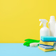House cleaning product on yellow blue bg, copy space - PhotoDune Item for Sale