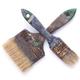 Old used paintbrush tool isolated on white background. Construction pint brush - PhotoDune Item for Sale