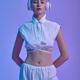 Attractive futuristic woman in modern headphones - PhotoDune Item for Sale
