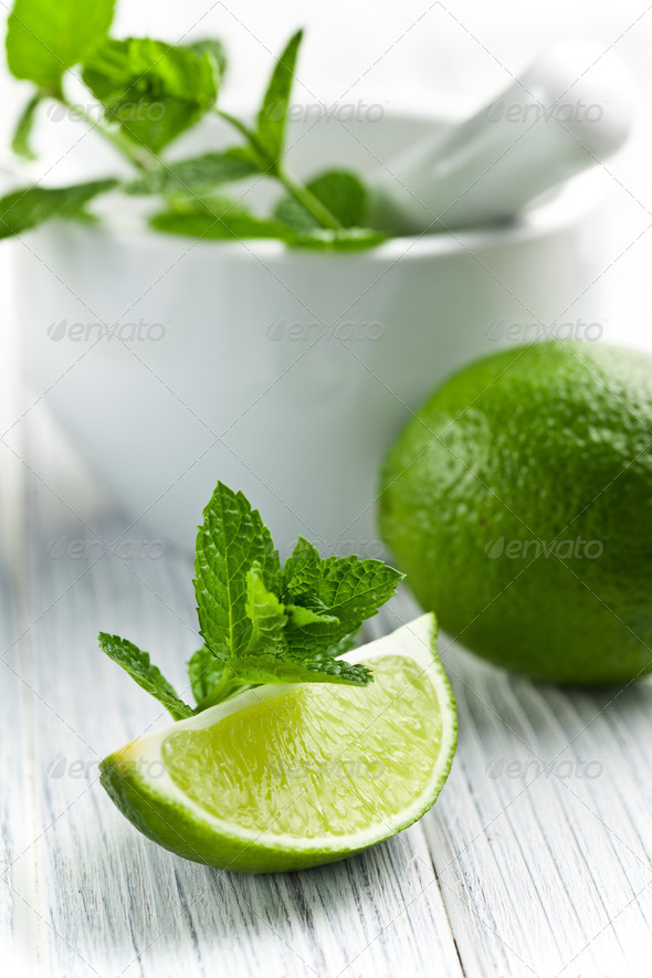 green lime with mint - Stock Photo - Images